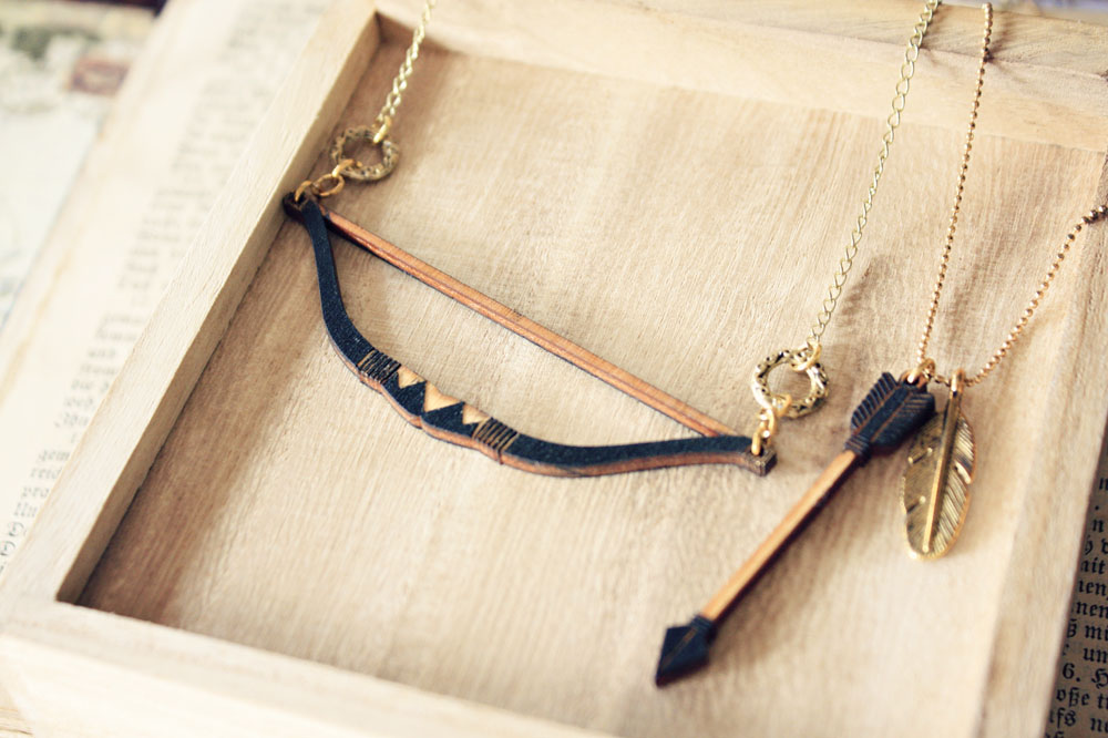 Geometric Bow and Arrow layered necklace - Hunger Games Inspired